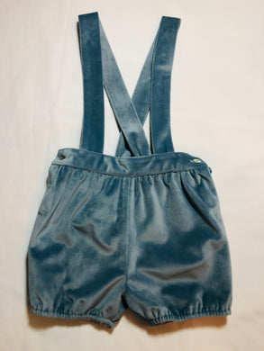 Blue Moon Velvet Baby Shorts with Straps - Posh Tots Children's Boutique