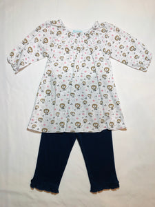 Ruched Tunic Set in Lions - Posh Tots Children's Boutique