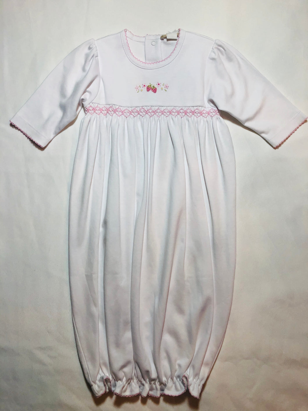 White Gown w/Pink Strawberry & Trim - Posh Tots Children's Boutique