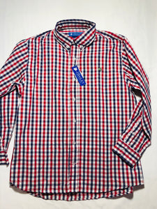 Roscoe Button Down, Red/Navy Check - Posh Tots Children's Boutique