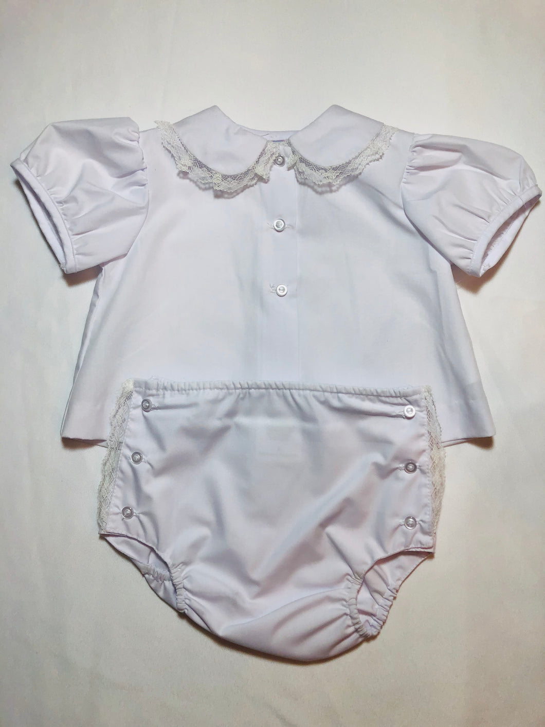 White Diaper Set w/Lace Collar - Posh Tots Children's Boutique