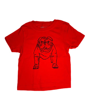 T-Shirt, Short Sleeve Bulldog - Red - Posh Tots Children's Boutique