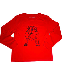 T-Shirt, Long Sleeve Bulldog - Red - Posh Tots Children's Boutique