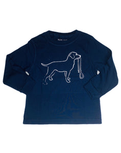 T-Shirt, Long Sleeve Navy Lab - Posh Tots Children's Boutique