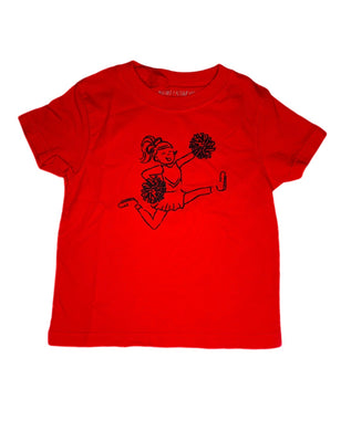 T-Shirt, Short Sleeve Red Cheerleader - Posh Tots Children's Boutique