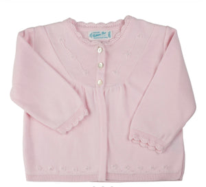 Pearl Flower Embroidered Cardigan - Pink or White - Posh Tots Children's Boutique