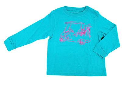 T-Shirt, Golf Cart Long Sleeve, Teal - Posh Tots Children's Boutique