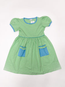 Short Sleeve Popover Dress with Pockets - Posh Tots Children's Boutique