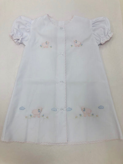 White Daygown w/Pink Embroidered Lambs - Posh Tots Children's Boutique