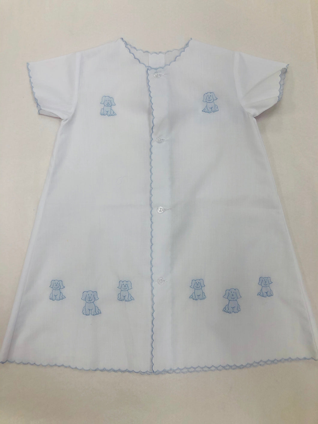White Daygown w/Blue Embroidered Puppies - Posh Tots Children's Boutique