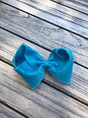 Turquoise Metallic Bow, Large - Posh Tots Children's Boutique