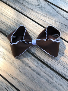 Chocolate Brown Moonstitch Bow, Med - Posh Tots Children's Boutique