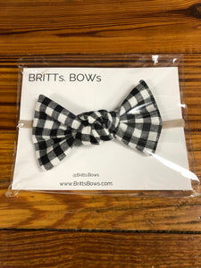 Black/Wht Gingham Knot Headband