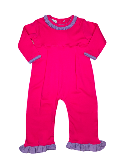 Hot Pink Ruffle Coverall with Lavender Trim - Posh Tots Children's Boutique