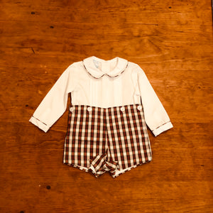 Christmas Plaid Button-On Shortall - Posh Tots Children's Boutique