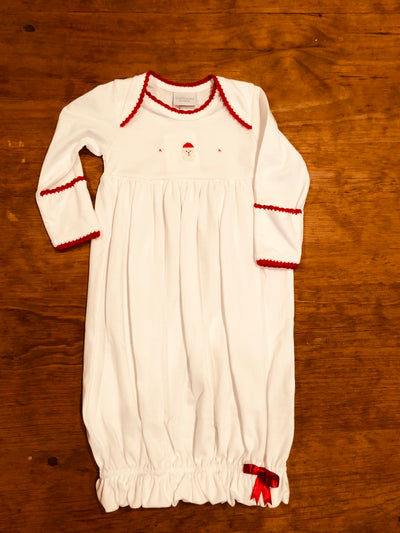 White Santa Gown with Red Trim - Posh Tots Children's Boutique