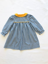 Load image into Gallery viewer, Navy Check Peter Pan Dress - Posh Tots Children's Boutique