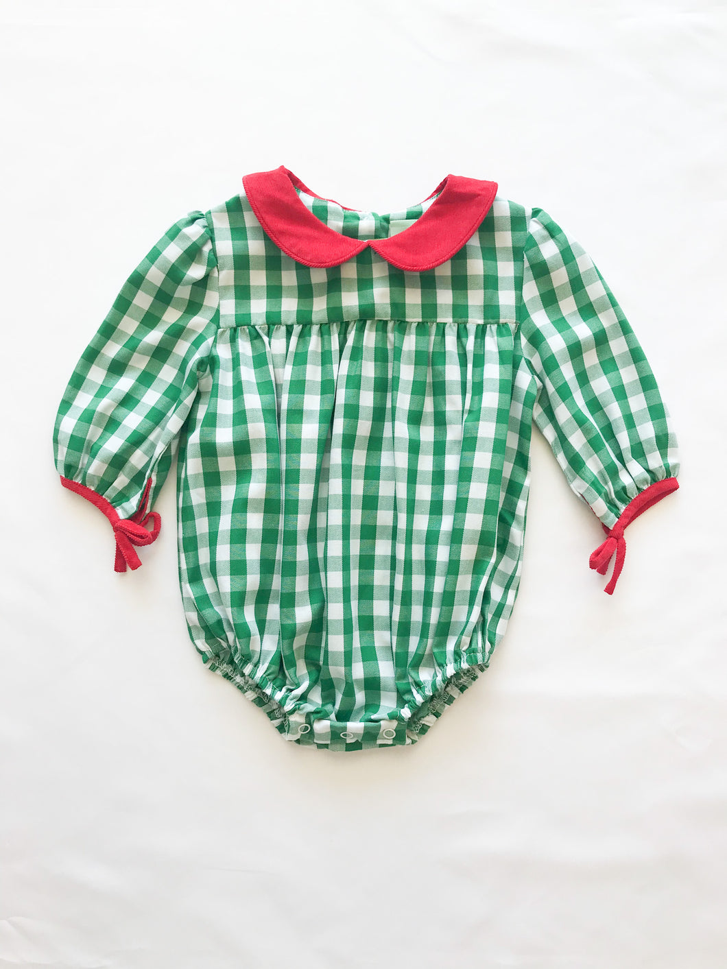 Green Check Bow Sleeve Bubble - Posh Tots Children's Boutique