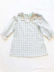 Gray Check Scallop Dress - Posh Tots Children's Boutique