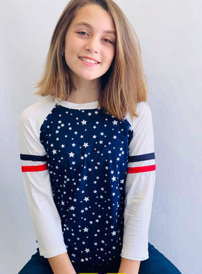 Navy Star Dolman Top - Posh Tots Children's Boutique