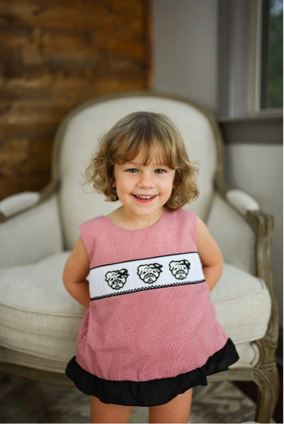Bow Back Smocked Bulldog Bloomer Set - Posh Tots Children's Boutique