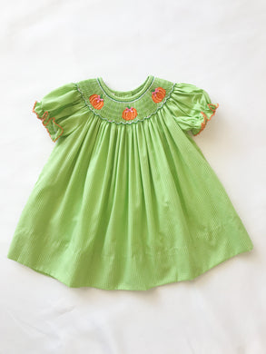 Pumpkin Lime Green Bishop Dress - Posh Tots Children's Boutique