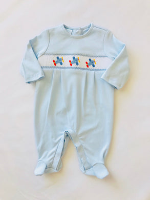 Smocked Airplane Footie - Posh Tots Children's Boutique