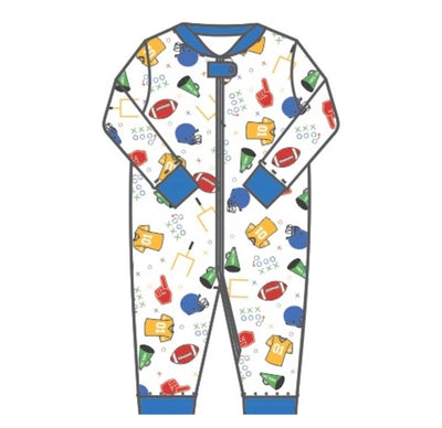 Gameday Zipped Pajama - Posh Tots Children's Boutique