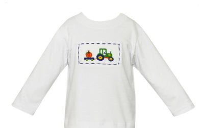 Pumpkin Tractor Smocked Shirt