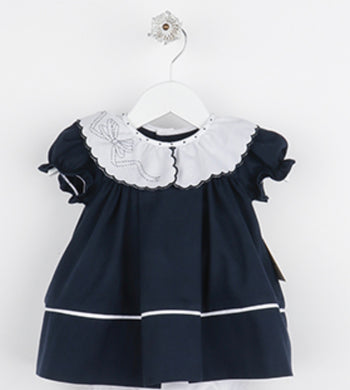 Cozy Cord Ruffle Dress - Navy - Posh Tots Children's Boutique