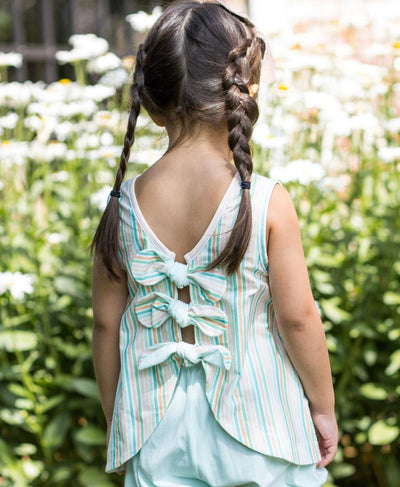 Kinley Knot Bloomer Set - Stripe - Posh Tots Children's Boutique