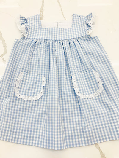 Angel Dress - Blue Check - Posh Tots Children's Boutique