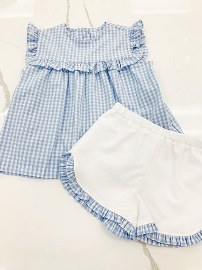 Shirley Girl Set - Blue Check - Posh Tots Children's Boutique