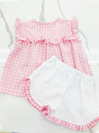 Shirley Girl Set - Pink Check - Posh Tots Children's Boutique