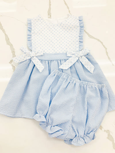 Elizabeth Bloomer Set -Blue Stripe - Posh Tots Children's Boutique