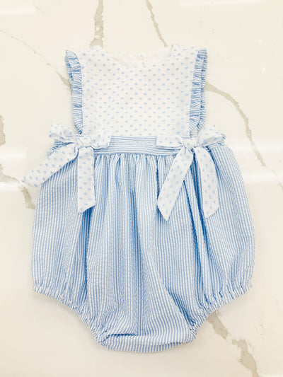 Elizabeth Bubble -Blue Stripe - Posh Tots Children's Boutique