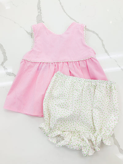 Wrap Bloomer Set - Pink Rosebud - Posh Tots Children's Boutique