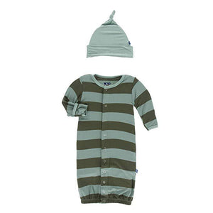 Multi Agriculture Stripe Converter Gown & Knot Hat - Posh Tots Children's Boutique