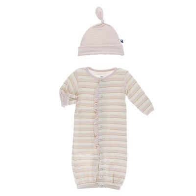 Sweet Stripe Gown Converter & Knot Hat Set - Posh Tots Children's Boutique