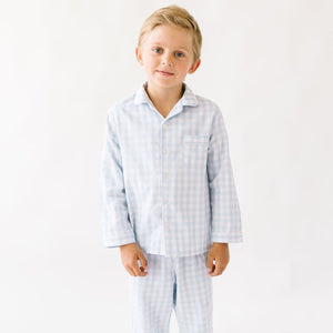 Light Blue Gingham Pajama Set - Posh Tots Children's Boutique