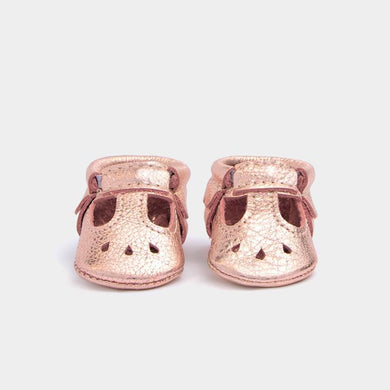 Rose Gold Mary Jane Moccasins - Posh Tots Children's Boutique