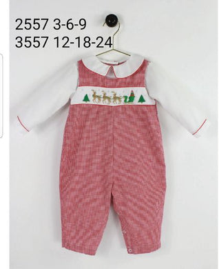 Santa Sleigh Smocked Longall - Posh Tots Children's Boutique