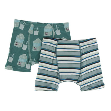 Boxer Briefs Set - Ivy Milk & Multi Agriculture Stripe - Posh Tots Children's Boutique