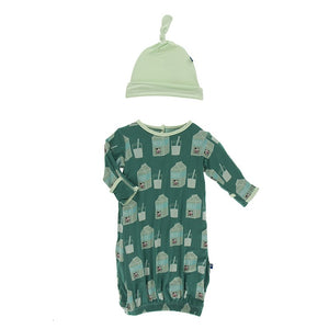 Ivy Milk Converter Gown & Knot Hat - Posh Tots Children's Boutique