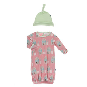 Strawberry Milk Ruffle Converter Gown & Knot Hat - Posh Tots Children's Boutique