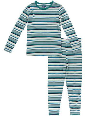 Multi Agriculture Stripe Pajama Set - Posh Tots Children's Boutique