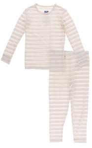 Sweet Stripe Long Sleeve Pajama Set - Posh Tots Children's Boutique