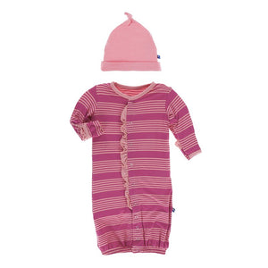 Calypso Stripe Ruffle Converter Gown & Knot Hat - Posh Tots Children's Boutique