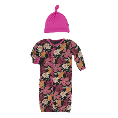 Zebra Market Flowers Converter Gown & Knot Hat - Posh Tots Children's Boutique