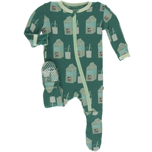 Ivy Milk Footie with Zipper - Posh Tots Children's Boutique